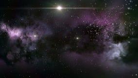 Purple interstellar nebula cloud. Nebulae and interstellar cloud with purple star clusters for a deep space background stock video footage