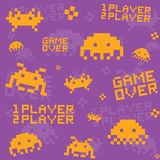 Purple invaders pattern Royalty Free Stock Photography