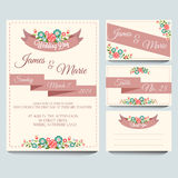 Purple Invitation Pack. Invitation for wedding or any celebration Stock Images