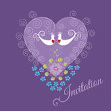 Purple invitation with two love birds and heart Royalty Free Stock Images