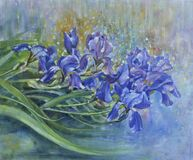 Purple iris flowers in the rain. Oil painting. Close-up