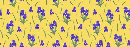 Purple irises on a yellow background. Seamless border vector illustration