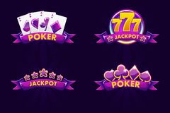 Purple jackpot and POKER emblem. Icons for lottery or casino, slot icon with ribbon and 777. Vector Isolated four emblem. Purple jackpot and POKER emblem. Vector stock illustration