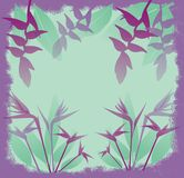 Purple jungle flowers. Illustration of exotic purple jungle flowers on green background with grunge style border Stock Photography
