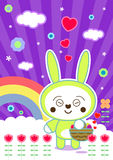 Purple kawaii. Easter card with a cute smiling bunny holding a easter basket with eggs, purple background with a springtime atmosphere and some details like Stock Image