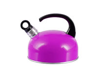 Purple kettle isolated. On a white background royalty free stock image