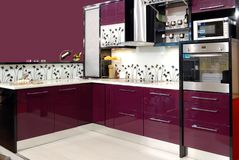 Purple kitchen Stock Photography