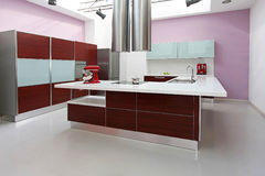 Purple Kitchen Interior Stock Photography