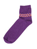 Purple knitted sock Royalty Free Stock Photos