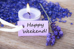 Purple Label With Text Happy Weekend And Lavender Blossoms Stock Images