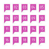 Purple labels with numbers. Labels with numbers, 20 purple bubbles Royalty Free Stock Images