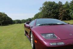 Purple Lamborghini on lawn corner view Royalty Free Stock Photo