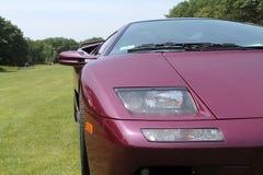 Purple lambo driving on lawn Royalty Free Stock Photos