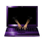 Purple laptop and two hands Royalty Free Stock Photo