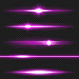 Purple laser beams pack Stock Photography