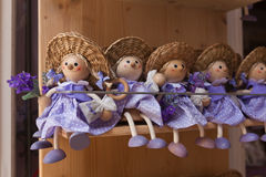 Purple lavender dolls in the shop Stock Photography