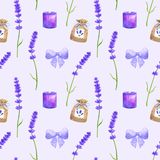 Purple lavender flowers, violet bow, sachet, burning candle. Seamless pattern in provence style. Hand drawn watercolor vector illustration