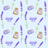 Purple lavender flowers, violet bow, sachet, soap. Seamless pattern in provence style. Hand drawn watercolor illustration royalty free illustration