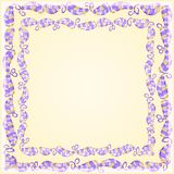 Purple Leaf Frame on Yellow Background Stock Photos