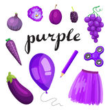 Purple. Learn the color. Education set. Illustration of primary colors. Vector illustration Royalty Free Stock Images