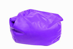 Purple leather beanbag isolated on white Royalty Free Stock Photo