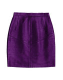 Purple leather pencil skirt, isolated on white background Royalty Free Stock Photo