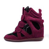 Purple leather platform sneaker Royalty Free Stock Image