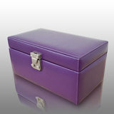 Purple leatherette box Stock Photos