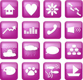 Purple lifestyle buttons. A set of illustrated icons, RSS icon style. Includes a house, heart, flower, footsteps, paw print, arrow, equalizer, handset Royalty Free Stock Photo