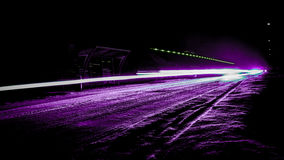 Purple light beam. During winter time, long exposure photography Royalty Free Stock Photo