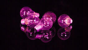 Purple light bulbs Stock Photo