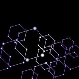 Purple light connected dots abstract background Stock Photography