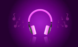 Purple light headphone vector Royalty Free Stock Images