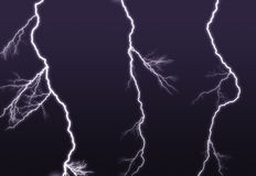 Purple lightning branched out in the sky Royalty Free Stock Photo
