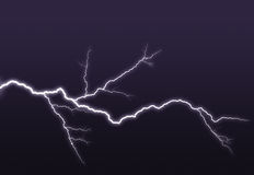 Purple lightning branched out in the sky Stock Photography