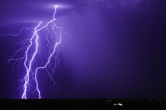 Purple Lightning Over Tonopah Arizona 2013 Royalty Free Stock Photos