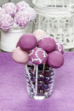 Purple and lilac cake pops Royalty Free Stock Photos
