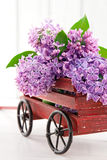 Purple lilac flower bouquet in a wooden carriage Stock Photo