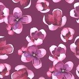 Purple Lilac flowers and petals watercolor style vector seamless pattern Stock Photos