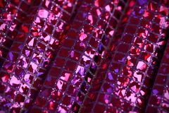 Purple lilac glitter square sequin glitter fabric background Royalty Free Stock Photos
