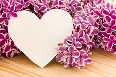 Purple lilac and a heart. As a background Stock Images