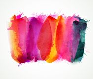 Purple, lilac, magenta and pink watercolor stains. Bright color element for abstract artistic background. Royalty Free Stock Photos