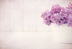 Purple Lilac Spring Flowers On Vintage Textured Background Royalty Free Stock Photography