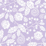 Purple line art flowers seamless pattern Stock Photo