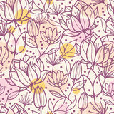 Purple line art flowers seamless pattern Stock Images