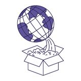 Purple line contour of earth globe coming out of the box. Vector illustration vector illustration