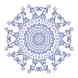 Purple line floral indian mandala Royalty Free Stock Photos