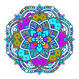 Purple line floral indian mandala Royalty Free Stock Photography