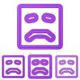 Purple line sadness logo design set. Purple line sadness symbol logo design set Stock Illustration