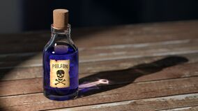 Purple Liquid Poison on Brown Wooden Surface Royalty Free Stock Images